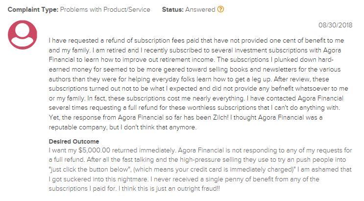 Agora Financial Complaints