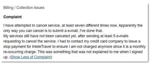 Inteletravel Complaint