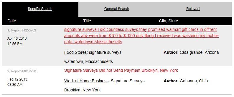 Signature Surveys Complaints
