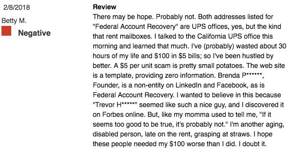 Federal Account Recovery Complaints