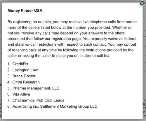 Money Finder USA Spam Notice