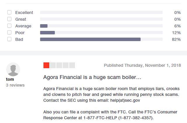 Agora Financial Trustpilot
