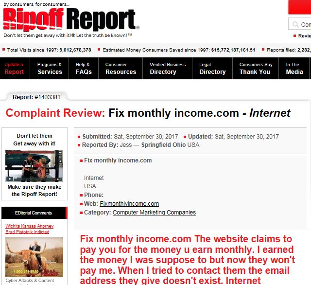 Fix Monthly Income Complaint Ripoff Report
