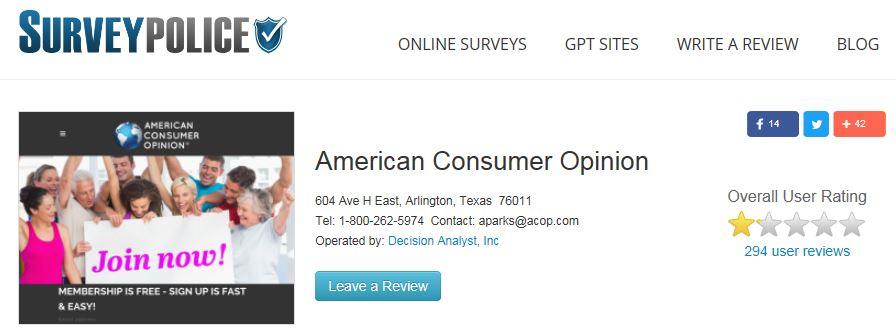 American Consumer Opinion Survey Police