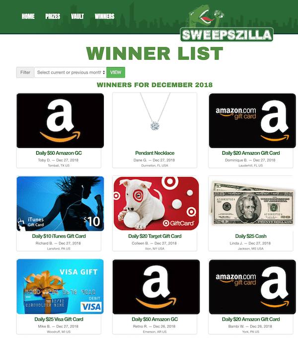 Sweepszilla Prize Winners