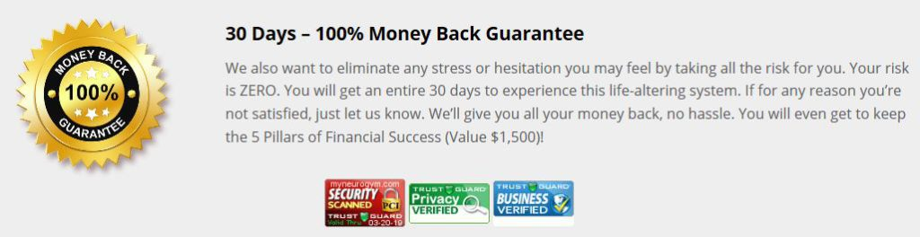 NeuroGym 30 Day Money Back Guarantee